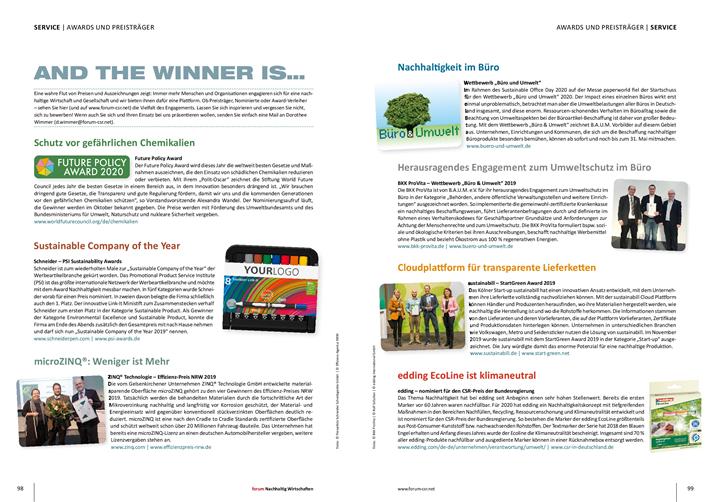 Beispiel: Doppelseite Awards und Preisträger in forum Nachhaltig Wirtschaften