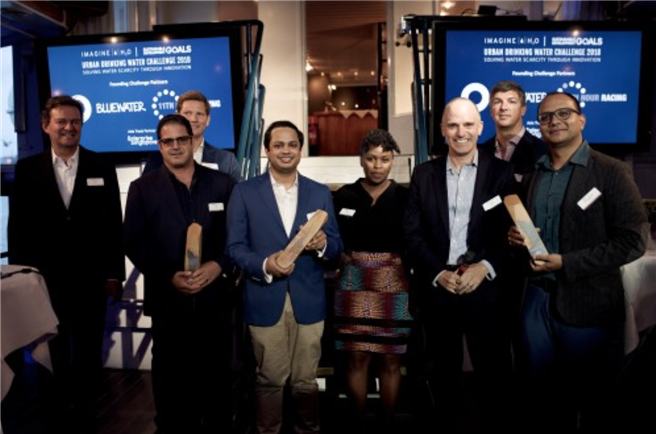 Three start-up up companies from the USA, India and Bangladesh received their recognition as joint winners of the 2018 Imagine H2O Urban Drinking Water Challenge at a ceremony in Stockholm, Sweden. © Bluewater